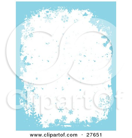 Clipart Illustration of a White Background Of Blue Falling Snow And Snowflakes With A Blue Grunge Border by KJ Pargeter