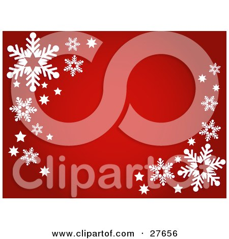 Clipart Illustration of a Red Background With White Stars And Snowflakes In The Upper Left And Lower Right Corners by KJ Pargeter