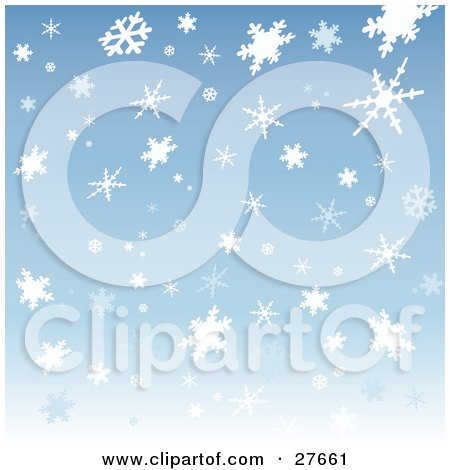 Clipart Illustration of a Patterned Background Of White And Light Blue Snowflakes Over Blue by KJ Pargeter