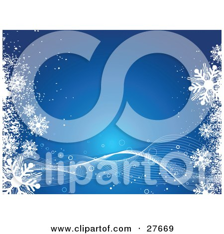 Clipart Illustration of a Blue Background With White Waves Twisting Along The Bottom And Snowflakes On The Left And Right Sides by KJ Pargeter