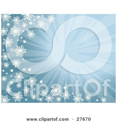 Clipart Illustration of a Bursting Blue Background With Snowflakes Along The Left And Bottom Edges by KJ Pargeter
