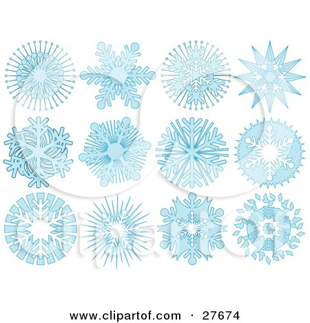 Clipart Illustration of a Collection Of Twelve Light Blue Snowflakes With Intricate Designs, Over White by KJ Pargeter