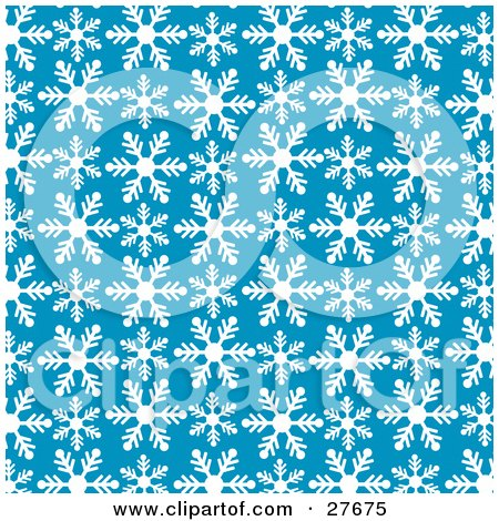 Clipart Illustration of a Patterned Background Of White Snowflakes Over Blue by KJ Pargeter