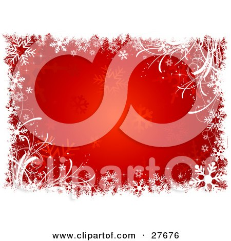Clipart Illustration of a White Grunge, Grasses And Snowflakes Over A Red Background Of Faded Snowflakes by KJ Pargeter