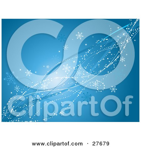 Clipart Illustration of White Dots, Snowflakes, Bursts And Blue Waves Spanning Diagonally Over A Blue Background by KJ Pargeter