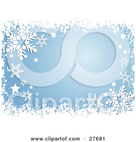 Clipart Illustration of a Border Of White Snow, Stars And Snowflakes ...