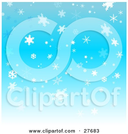 Clipart Illustration of a Background Of Pretty White And Blue Snowflakes Falling Over A Blue Sky by KJ Pargeter