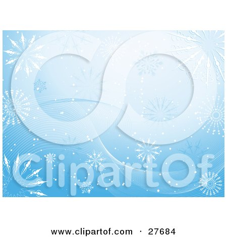 Clipart Illustration of a Pretty Winter Blue Background Of White Waves, Snow And Snowflakes by KJ Pargeter