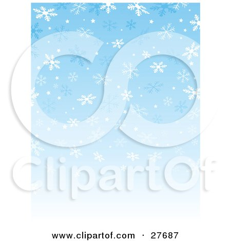 Clipart Illustration of a Background Of Blue And White Falling Snowflakes With A Gradient Blue To White Background by KJ Pargeter