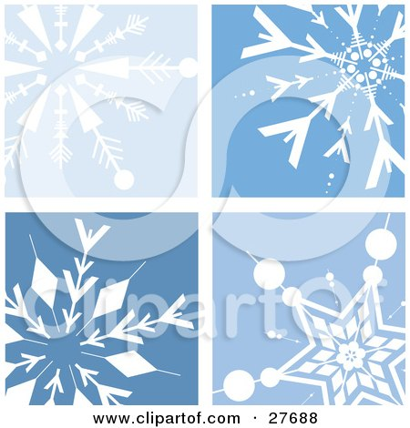 Clipart Illustration of a Background Of Four Different White Snowflakes In Blue Squares by KJ Pargeter