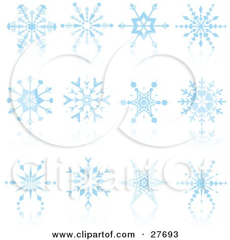 Clipart Illustration of a Collection Of Intricate Blue Snowflakes On Reflective White Surfaces by KJ Pargeter