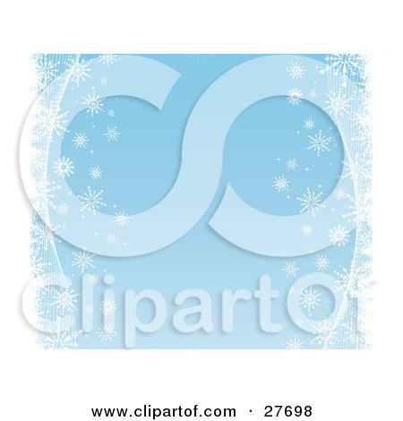 Clipart Illustration of White Snowflakes And Waves Bordering The Right And Left Sides Of A Blue Background by KJ Pargeter