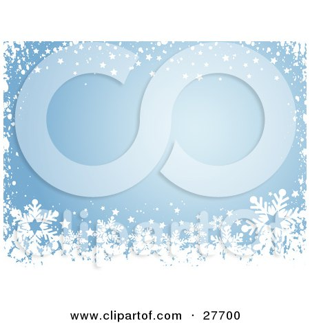 Clipart Illustration of a Border Of White Stars, Snow And Snowflakes Over Blue by KJ Pargeter
