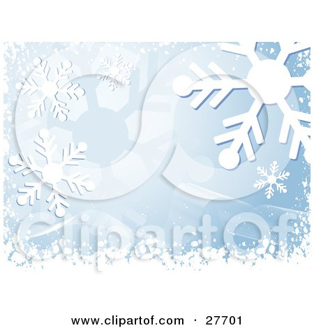 Clipart Illustration of a Snowflake Background With Blue Tones, White Waves And Snow by KJ Pargeter