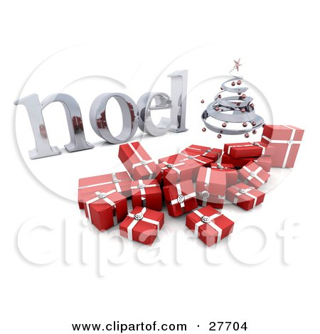 Clipart Illustration of a Silver Spiral Christmas Tree And Red Gifts With A Silver Noel Greeting by KJ Pargeter