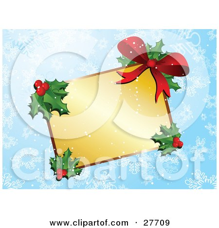Clipart Illustration of a Blank Golden Gift Tag Label With Holly, Berries And A Red Bow Over A Blue Snowflake Background by KJ Pargeter