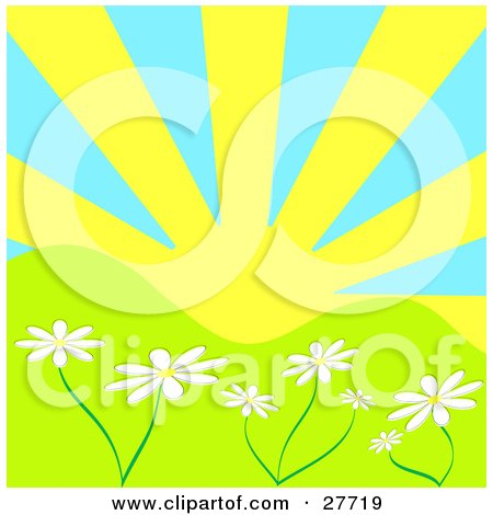 Clipart Illustration of The Sun Shining Over White Daisy Flowers In A Green Hilly Landscape by KJ Pargeter