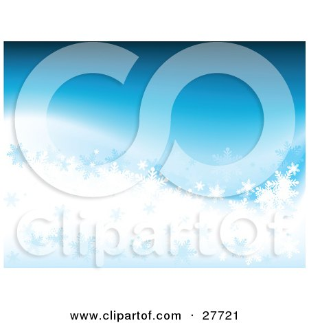 Clipart Illustration of a Blue And White Background With Small And Big Snowflakes by KJ Pargeter