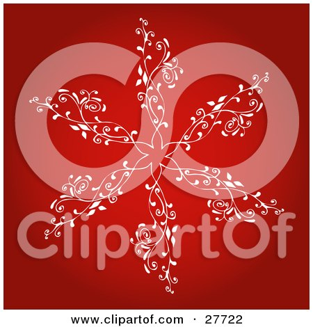 Clipart Illustration of a Large White Snowflake With Intricate Designs Over A Gradient Red Background by KJ Pargeter