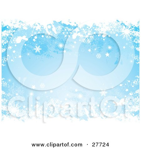 Clipart Illustration of a Grunge Blue Background Of White Snowflakes Falling by KJ Pargeter