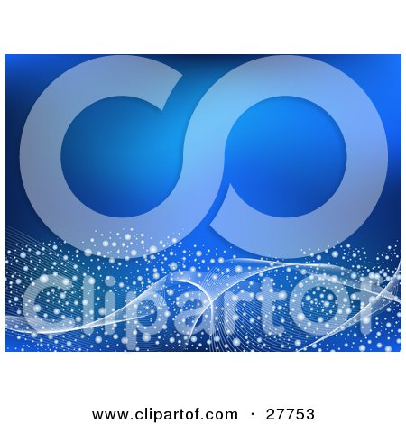 Clipart Illustration of a Blue Background With White Magical Spots And Waves Along The Bottom by KJ Pargeter