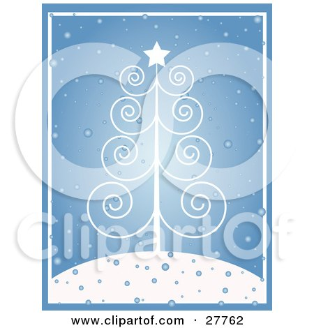 Delicate White Scroll Christmas Tree With A Star, On A Snowy Hilltop Over Blue Posters, Art Prints