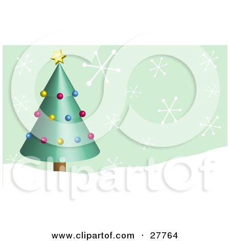 Green Christmas Tree Decorated In Yellow, Red And Blue Ornaments With A Yellow Star, In A Snowy Landscape With Big Snowflakes Falling From A Green Sky Posters, Art Prints