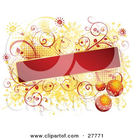 Clipart Illustration of a Blank Red Text Box Bordered In Gold, With Three Orange Snowflake Ornaments Over A Red Vine And Orange Snowflake Grunge Background On White by KJ Pargeter