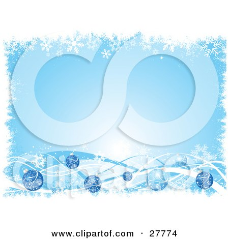 Clipart Illustration of a Light Blue Background Bordered With White Snowflakes And Blue Waves And Christmas Ornaments by KJ Pargeter