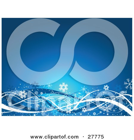 Clipart Illustration of a Blue Background With White And Blue Snowflakes, Stars And Waves Along The Bottom by KJ Pargeter