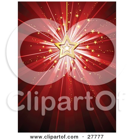 Bursting Red Background A Gold Star Christmas Ornament And Small Stars Posters, Art Prints