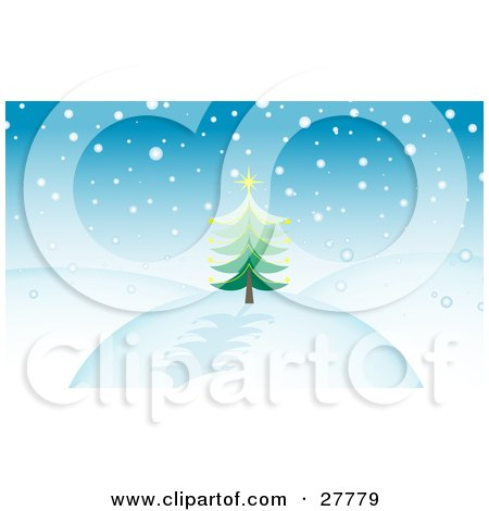 Clipart Illustration of Snow Falling Over A Hilly Landscape With An Evergreen Christmas Tree Topped With A Yellow Star And A Blue Sky by KJ Pargeter