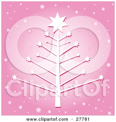 Clipart Illustration of a White Christmas Tree With Bare Braches And Stars, Over A Pink Background With Falling Snow by KJ Pargeter