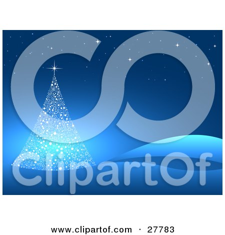 Clipart Illustration of a Delicate White Christmas Tree Made Of Stars, In A Blue Hilly Landscape With Stars In The Night Sky by KJ Pargeter