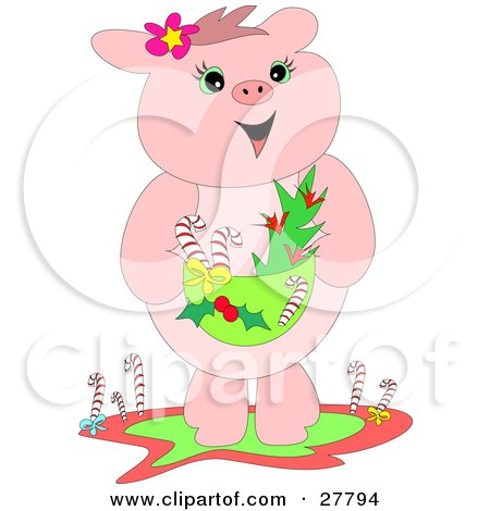 Clipart Illustration Of A Happy Pink Pig Standing And Holding A Basket With Candy Canes