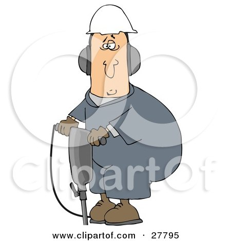 Clipart Illustration of a White Man In A Hardhat And Ear Muffs, Operating A Jackhammer At A Construction Site by djart