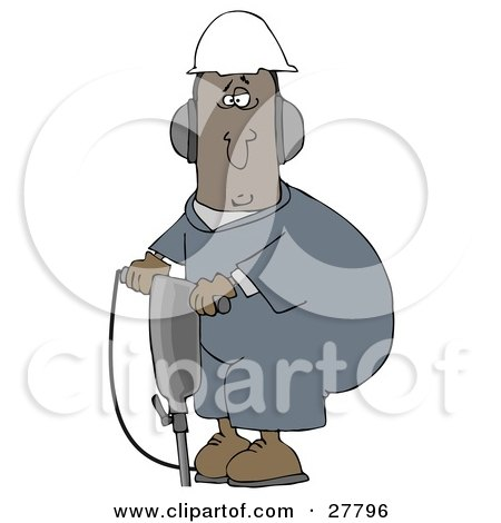 Clipart Illustration of a Black Man In A Hardhat And Ear Muffs, Operating A Jackhammer At A Construction Site by djart