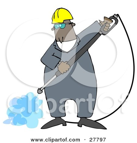 Clipart Illustration of a Black Man Wearing Goggles And A Hardhat, Spraying The Ground With A Heavy Duty Power Washer Machine by djart