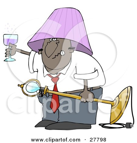 Clipart Illustration of a Snarling Drunk Black Man With A Purple Lamp Shade On His Head, Holding A Light Fixture In One Hand And A Glass Of Wine In The Other by djart
