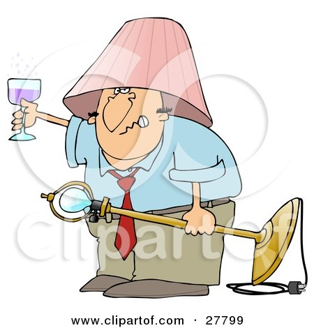 Clipart Illustration of a Snarling Drunk White Man With A Pink Lamp Shade On His Head, Holding A Light Fixture In One Hand And A Glass Of Wine In The Other by djart