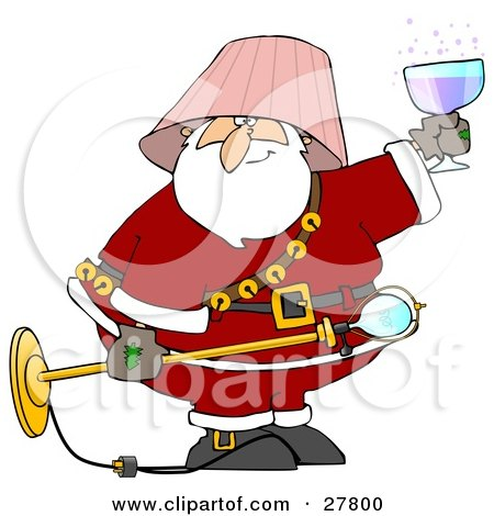 Clipart Illustration of a Drunk Santa With A Pink Lamp Shade On His Head, Holding A Light Fixture In One Hand And A Glass Of Wine In The Other by djart