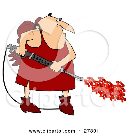 Clipart Illustration of a Chubby Cupid Man With A Red Heart Tattoo On His Arm, Operating A Power Washer, With Hearts Spraying Out Of The End by djart