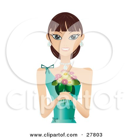 Clipart Illustration of a Beautiful Brunette Caucasian Woman In A Green Evening Gown, Wearing Diamond Earrings And A Necklace, Smiling And Holding A Bouquet Of Flowers by Melisende Vector