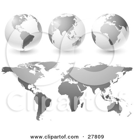 Gradient Gray Globes And Maps Over A White Background Posters, Art Prints