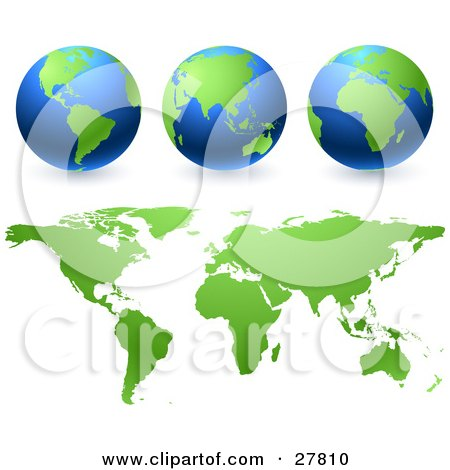 Green And Blue Globes And Green Maps Over A White Background Posters, Art Prints