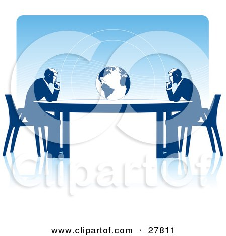 Clipart Illustration of Two Business Men Seated At Opposite Ends Of A Table, Facing A Globe, Over A Blue Background, On A White Surface, Symbolizing Travel, Ecology Or International Trade by Tonis Pan