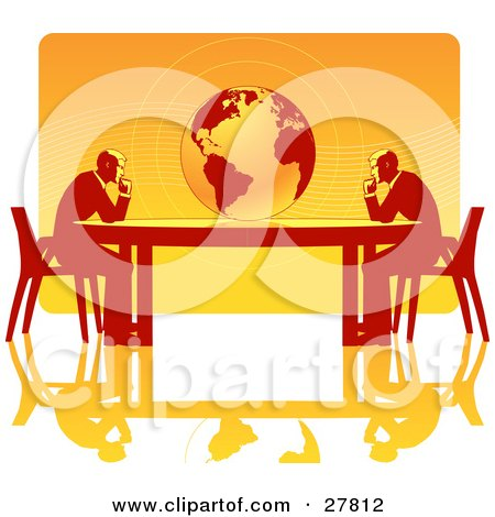 Clipart Illustration of Two Business Men Seated At Opposite Ends Of A Table, Facing A Globe, Over A Gradient Orange Background, On A White Surface, Symbolizing Travel, Ecology Or International Trade by Tonis Pan