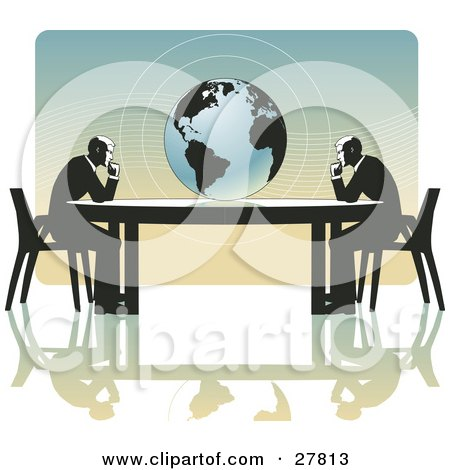Clipart Illustration of a Two Business Men Seated At Opposite Ends Of A Table, Facing A Globe, Over A Gradient Blue And Orange Background, On A White Surface, Symbolizing Travel, Ecology Or International Trade by Tonis Pan