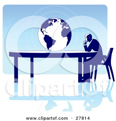 Clipart Illustration of a Businessman Seated At A Table, Facing A Globe Over A Blue Background, On A White Surface, Symbolizing Travel, Ecology Or International Trade by Tonis Pan