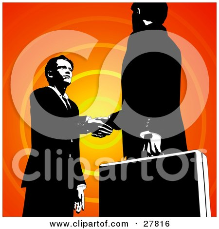 Two Businessmen Looking Into Each Others Eyes And Shaking Hands Over An Orange Circle Background Posters, Art Prints